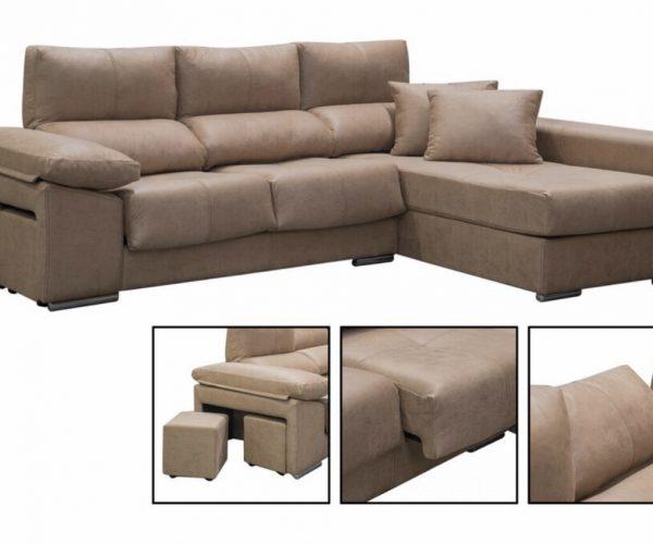 Sofá con chaiselonge y 2 puff